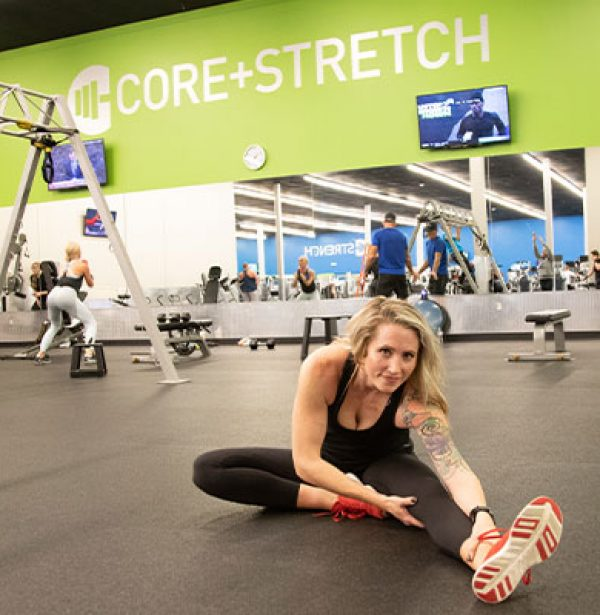 woman stretching in dedicated stretching area